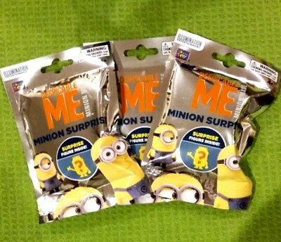 Despicable Me Minion Surprise Figurine Blind Lot Of 3 New in Sealed Packages!