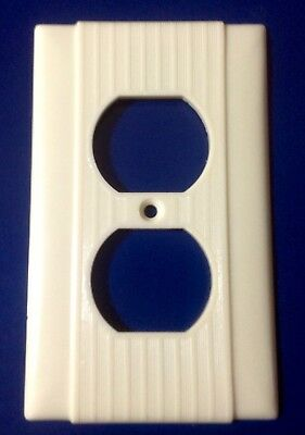 Vintage Uniline Bakelite Electrical Outlet Wall Plate Cover Ribbed Ivory