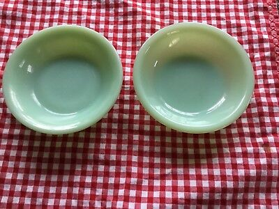 2 Fire King Jadeite Jadite Restaurant Ware Fruit Berry Bowls Excellent Condition