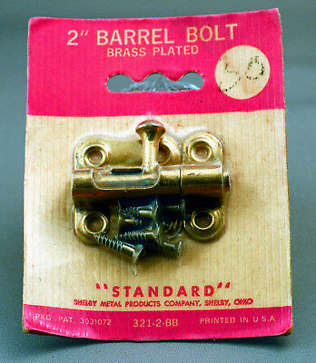 NOS Vintage Two-Inch Barrel Bolt, Brass Plated