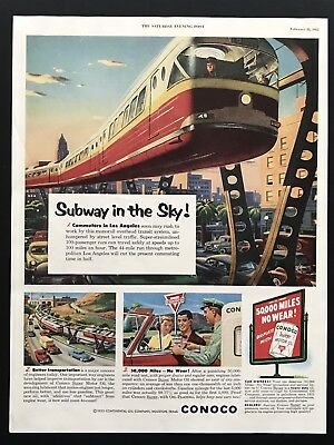 1953 Vintage Print Ad CONOCO Motor Oil Subway In The Sky Illustration art 50's