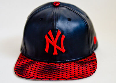 buy online 9f25f ce08c New Era 9FIFTY Snapback MLB NY Yankees Faux Leather Adjustable Hat Cap  (Bla Red