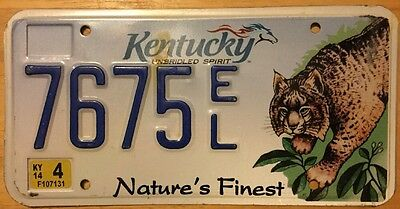2014 Kentucky License Plate, Nature's Finest Graphic, #7675EL, Ky.