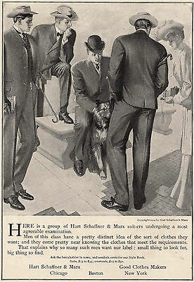 1904 Ad Hart Schaffner & Marx Mens Clothes 4 Guys Lady Taking Photo Collie Dog