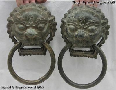 Old Copper Bronze Fengshui Bixie Fu Foo Dog Lion Head knockers Door Knocker Pair
