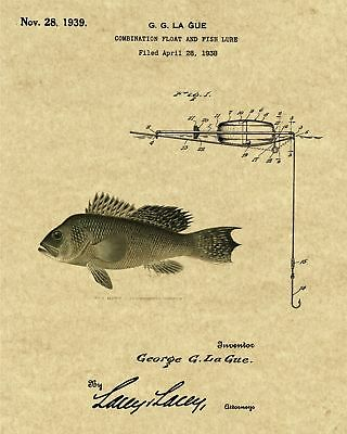 Patent Art Print 1887 Fishing Lure with Rainbow Trout Image Choice of 4 BG/'s
