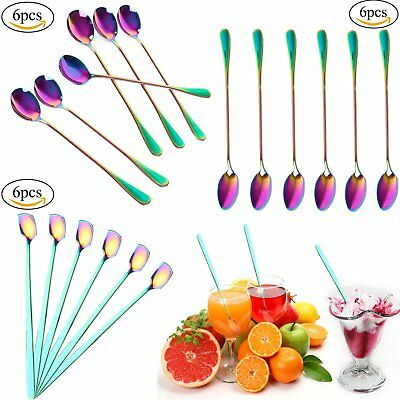 6Pcs Stainless Steel Spoons Rainbow Long Handled Coffee Spoons Mixing Spoons Set