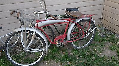 WESTERN FLYER BICYCLE RED & CHROME UNRESTORED TIRE Bike Vintage Road master