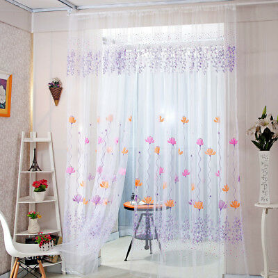 Lotus Sheer Curtain Tulle Window Treatment Voile Drape Valance 1 Panel Fabric