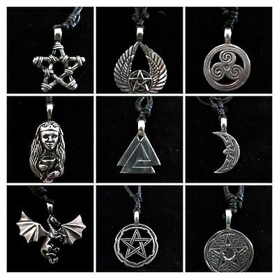 Lead Free Pewter Pendants on Cord Necklaces Celtic Pagan Wicca Norse Pentacles