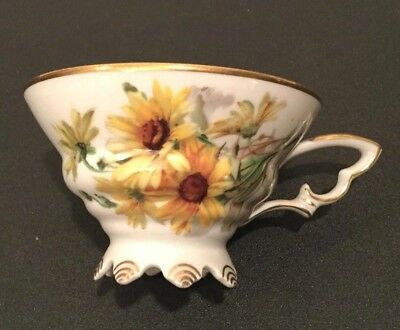 Mitterteich Bavaria Yellow Sun Flower Germany Footed Cup