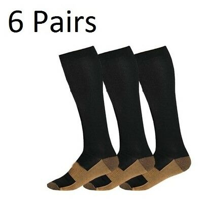 (6 Pairs) Copper Compression Support Socks 20-30mmHg Calf Miracle Foot Men Women