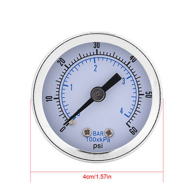 "0-60psi 0-4bar 1/8""BSPT Pressure Gauge Manometer for Water Air Oil Small oe"