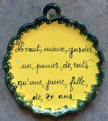 "HENRIOT QUIMPER : Vtg 4 1/2"" PROVERB WALL PLAQUE Handpainted Yellow/Green FRANCE"