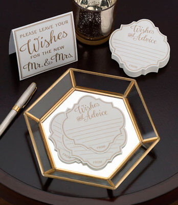 48 WEDDING WISHES AND ADVICE CARDS SET IVORY & GOLD Mr & Mrs wishing well cards