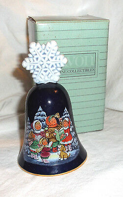 "Avon Christmas bell 1987 porcelain dark blue snowflake with box 4 3/4"" tall"