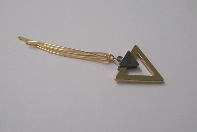 """One-of-a-kind~Created by me~3"""" Gold Hair Clip w/Gold/Slvr Triangle Embellishment"""