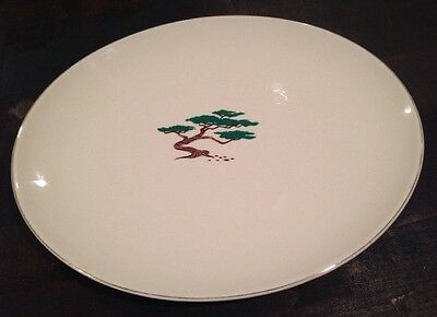 Vintage KNOWLES Large Oval Serving Platter White Ceramic Bonzai Tree USA VGUC