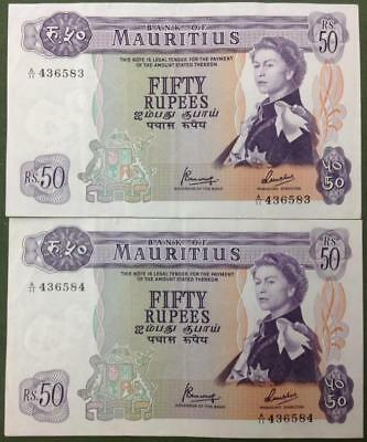 2X 1967 Ex Rare Consecutive Serial Numbers Mauritius 50 Rupees High Grade