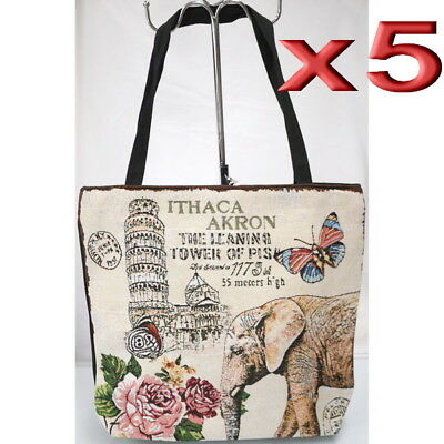 5pc Wholesale Large Elephant Canvas Shoulder Casual Handbag Women Lady Girl Bag