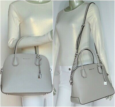 318808a09af101 MICHAEL KORS STUDIO Mercer Large Leather Dome Satchel Pearl Grey NWT$298.00
