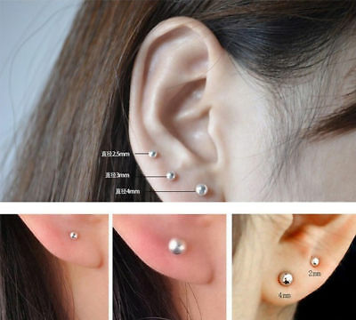925 Sterling Silver Round Ball Beads Unisex Stud Earrings Jewelry