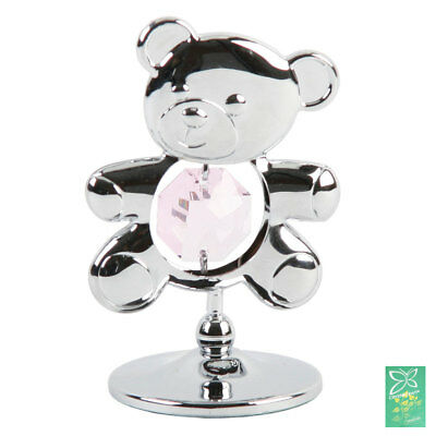 Crystocraft Freestand Baby Crystal Gift Silver Teddy Pink Swarovski Elements