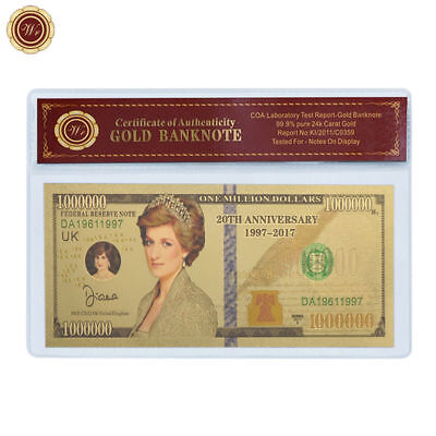 WR Princess Diana Million Dollar Bill Note GOLD Colored Novelty Banknote 20YRS