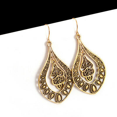 EG_ Antique Women Dangle Statement Hollow Hook Earrings Party Cocktail Jewelry M