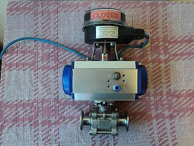 """Actuated Pneumatic Ball Valve 1"""" Stainless Steel 316 Tri-Clamp ,  2 available"""