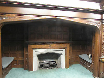 1900's Decorative Oak Mantle Crest Kindernook Fireplace Paneled Room Surround