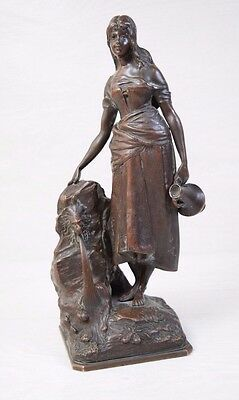 Antique TIFFANY & CO Bronze Figurine Statue of Beautiful Woman by Lion Fountain