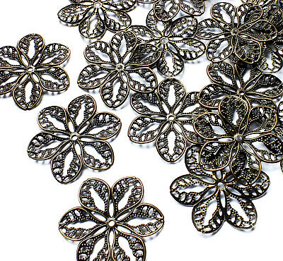 20 Filigree Flower Stamped Embellishment Decoration Charm Bronze tone Metal 32mm
