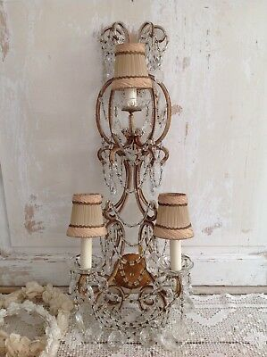Antique Italian Beaded 3 Light Sconce Dripping w/ Macaroni Swags & Crystals