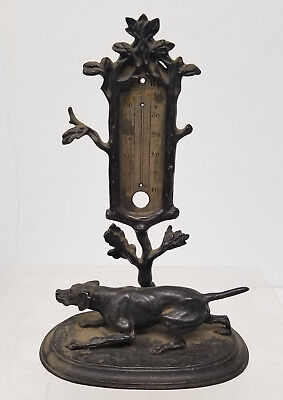 Antique Cast Iron German Hunting Dog Figural Group Thermometer Zimmermann Hanau