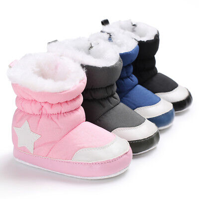 Eg_ Star Pattern Baby Boys Girls Casual Anti-Slip Winter Boots Thicken Shoes Str