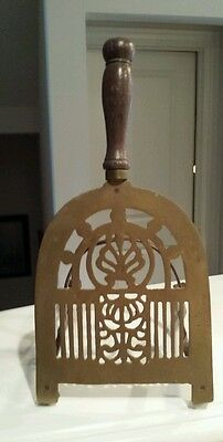 Iron And Brass Standing Trivet Wooden Handle Antique