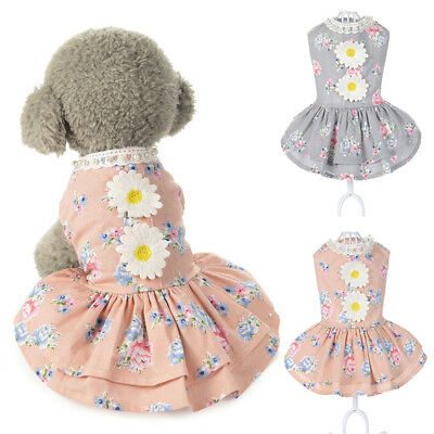 EG_ Fashion Lovely Pet Dog Puppy Cat Flower Pattern Dress Costume Clothes Appare