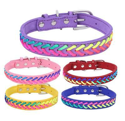 Braided Designer Dog Collars Soft Suede for Small Medium Dog Pet Puppy Chihuahua