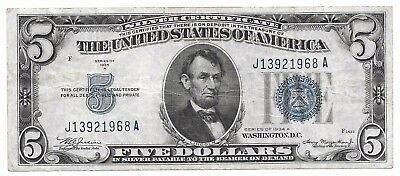 United States 1934 A $5 Silver Certificate - Blue Seal - 5 Dollars