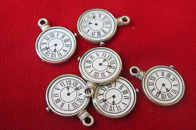 5 pc beautiful large antique style silver watch charms (BC23)