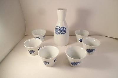 Vintage Shochikubai Japan Sake Set Blue Bottle & 6 Shot Cups Blue Leaves