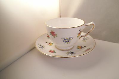 Vintage Crown Staffordshire Fine Bone China England Cup & Saucer Flowers