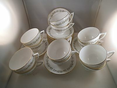 Vintage Minton Bone China April Set of 12 Tea Cups Teacup & Saucers