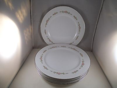 Set of 5 Four Crown China Belmont Dinner Plates Japan Pink Roses Sango