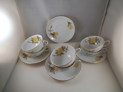 Vintage Sango Cotillion Japan Set of Six Cups Cup & 4 Saucers Yellow Roses