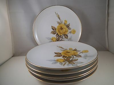 Vintage Sango Cotillion Japan Set of Six Salad Plates Yellow Roses