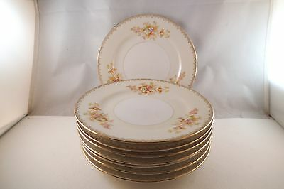 Vintage Rovix China Made in Japan Flowers Set of 8 Bread Plates