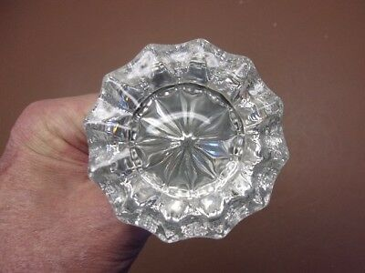 Antique 12-Point Clear Glass Door Knob Set w/Stempiece Maine Farm Salvage Nice!