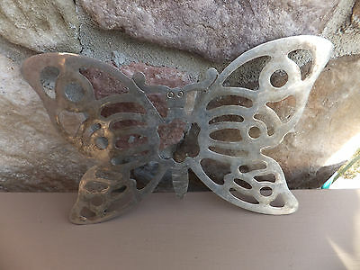 """Mid Century Silver Plated BUTTERFLY Footed TRIVET -  Italy EP-ZINC  10"""" X 7"""""""